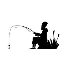 Fisherman black silhouete cartoon character vector