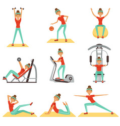 Fitness woman exercising in the gym with sports vector