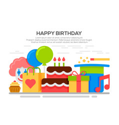 flat happy birthday festive concept vector image
