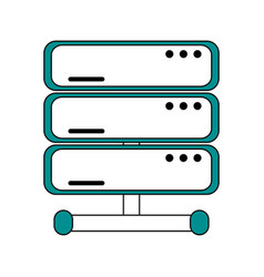 Flat line server design vector