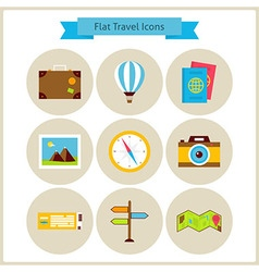 Flat Travel and Vacation Icons Set vector