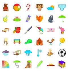 fun thing icons set cartoon style vector image