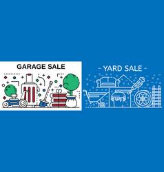 garage sale banner set outline style vector image