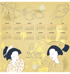 geisha on vintage background vector image