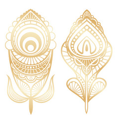 Golden feathers indian style isolated on white vector