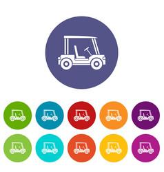 Golf flag icons set flat vector