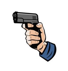 Gun in hand firearm weapon vector