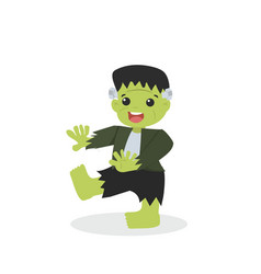 Halloween green frankenstein character vector