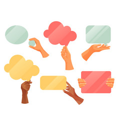 hands holding text note clouds flat icons vector image