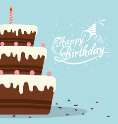 happy birthday cake chocolate confetti card vector image