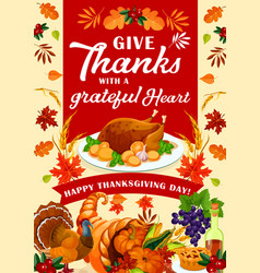 happy thanksgiving day holiday greeting card vector image