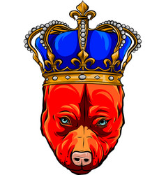 Head dog with gold crown vector