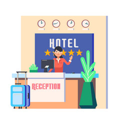 hotel reception with woman and luggage bag vector image