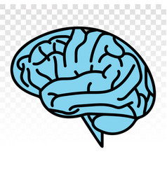 Human brain or mind side view line art icon on a vector