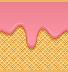 Ice cream melted on yellow seamless wafer texture vector