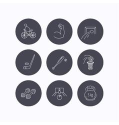 Ice hockey football and basketball icons vector
