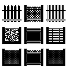 image of set of icons of fences of various types vector image