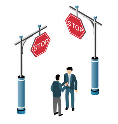 isometric traffic signs vector image