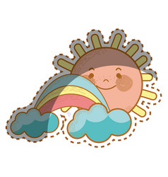 Kawaii happy sun with cloud and rainbow vector
