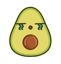 Kawaii sad avocado cartoon vector