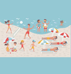 kids at children camp with summer landscape vector image