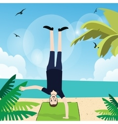 Man handstand with one hand in beach exercise fun vector