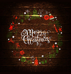 merry christmas inscription greeting card vector image