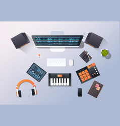 music recording studio sound engineering concept vector image
