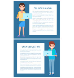online education poster add text man and woman vector image