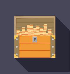 Open treasure chest isolated flat design vector