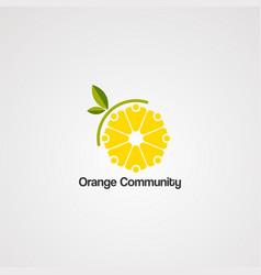 orange community logo icon element and template vector image