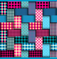 Patchwork textile pattern seamless quilting vector