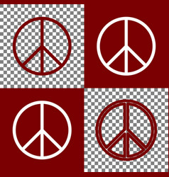 peace sign bordo and white vector image