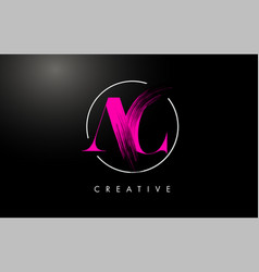 pink ac brush stroke letter logo design vector image