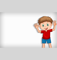 plain background with boy waving hands vector image