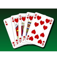 Poker hand - Royal flush heart vector