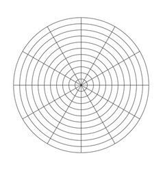 Polar grid of 10 concentric circles and 30 degrees vector
