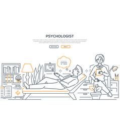 psychologist - modern line design style web banner vector image