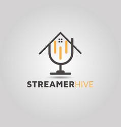 Real estate podcast house logo design vector