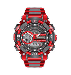 realistic red grey watch clock chronograph sport vector image