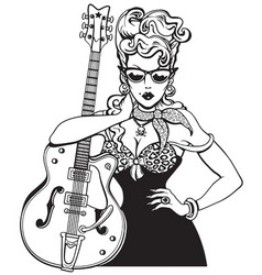 rockabilly girl with vintage guitar vector image