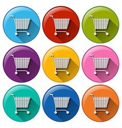 Round buttons with grocery shopping carts vector image
