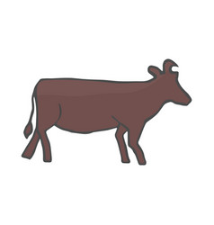 rustic color cow silhouette isolated on vector image