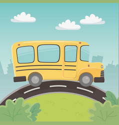 school bus transport in landscape vector image
