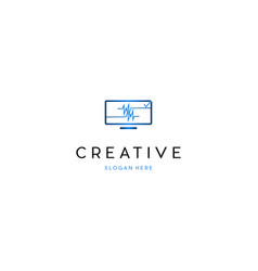 Screen monitor pulse networking creative logo vector