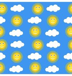 Seamless pattern with suns and clouds vector image