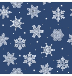 Seamless winter new year snowflakes background vector image