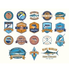 set badges stickers on catching fish vector image
