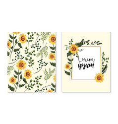 Set card with exotic sunflowers and branches vector