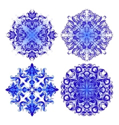 set of blue pattern vector image